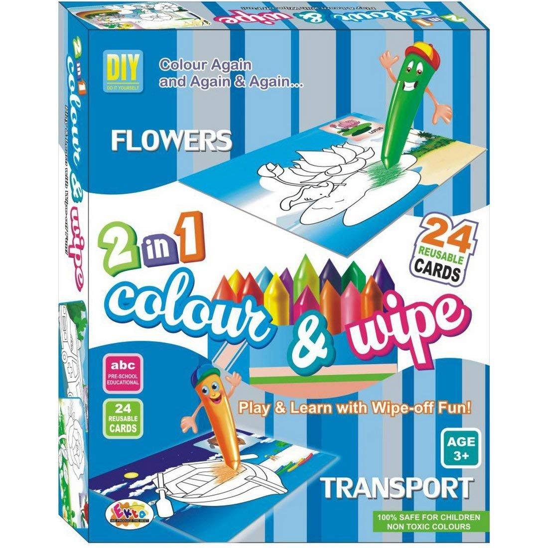 Buy Art Bundle 2 in 1 Large Color & Wipe Flower Kit | Preschool ...