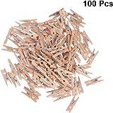 Pixnor Mollette legno con primavera, 100-Pack, 0,98-pollici di lunghezza