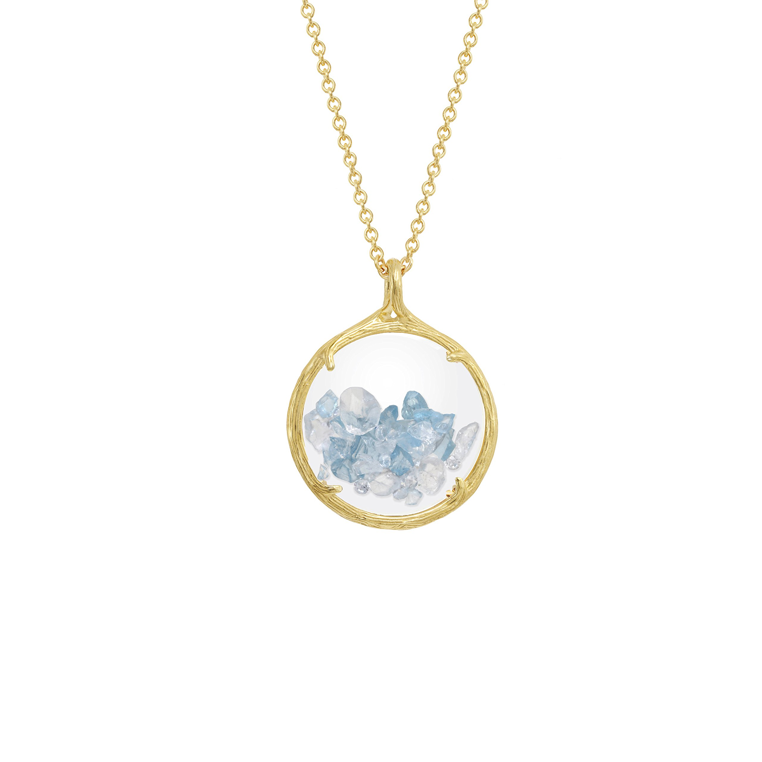 Birthstone shaker floating crystal stone Necklace (December Swiss Blue Topaz)