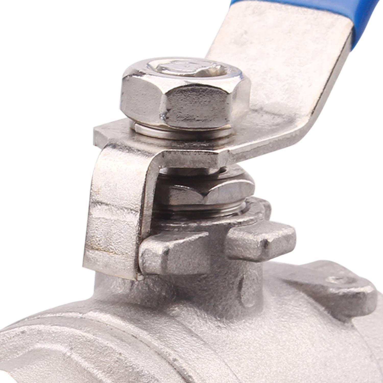 Full Port Ball Valve 2PC Stainless Steel Female Shut Off Valve with Blue Vinyl Handle for Water Oil Gas 1//2 NPT