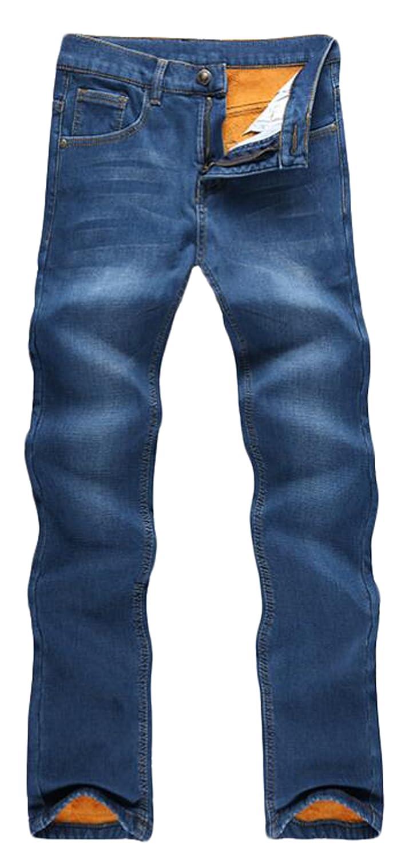 6911090109e5 cheap Unko Men s Casual Straight Leg Fleece Lined Denim Jeans ...