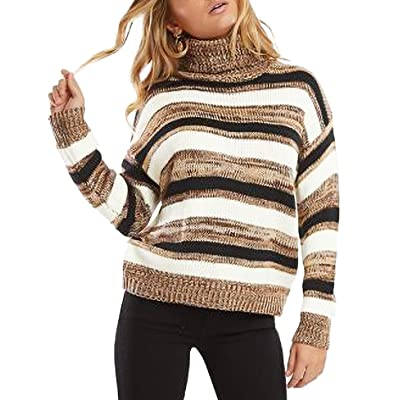 Relipop Women's Knitwear Jumper Turtleneck Drop Shoulder Color Block Stripe Knit Pullover Sweater at Women's Clothing store