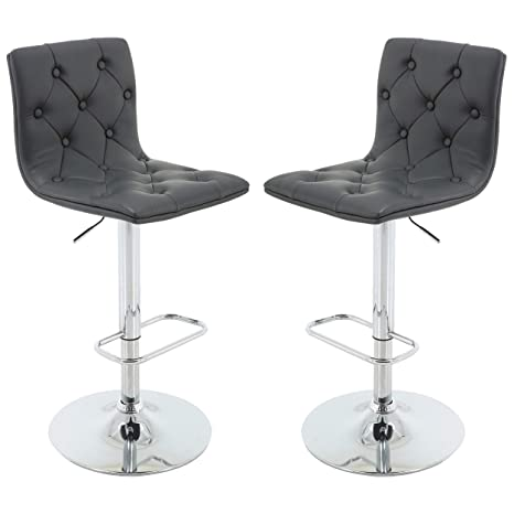 Tremendous Brage Living Tufted Pu Leather Adjustable Height Barstool With Chrome Base And Footrest Set Of 2 Grey Caraccident5 Cool Chair Designs And Ideas Caraccident5Info