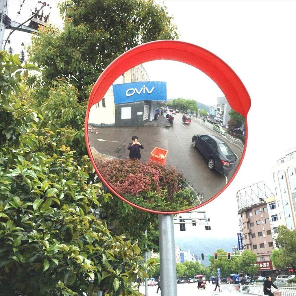 Geng カーブミラー 凸面鏡、オレンジ色の鏡ラウンドコーナーのある死角交通ミラー、ガレージコーナーミラー監視反射内側と外側の盗難防止ミラー、駐車場に最適、通りの角 60cm  B07TM8XYN2