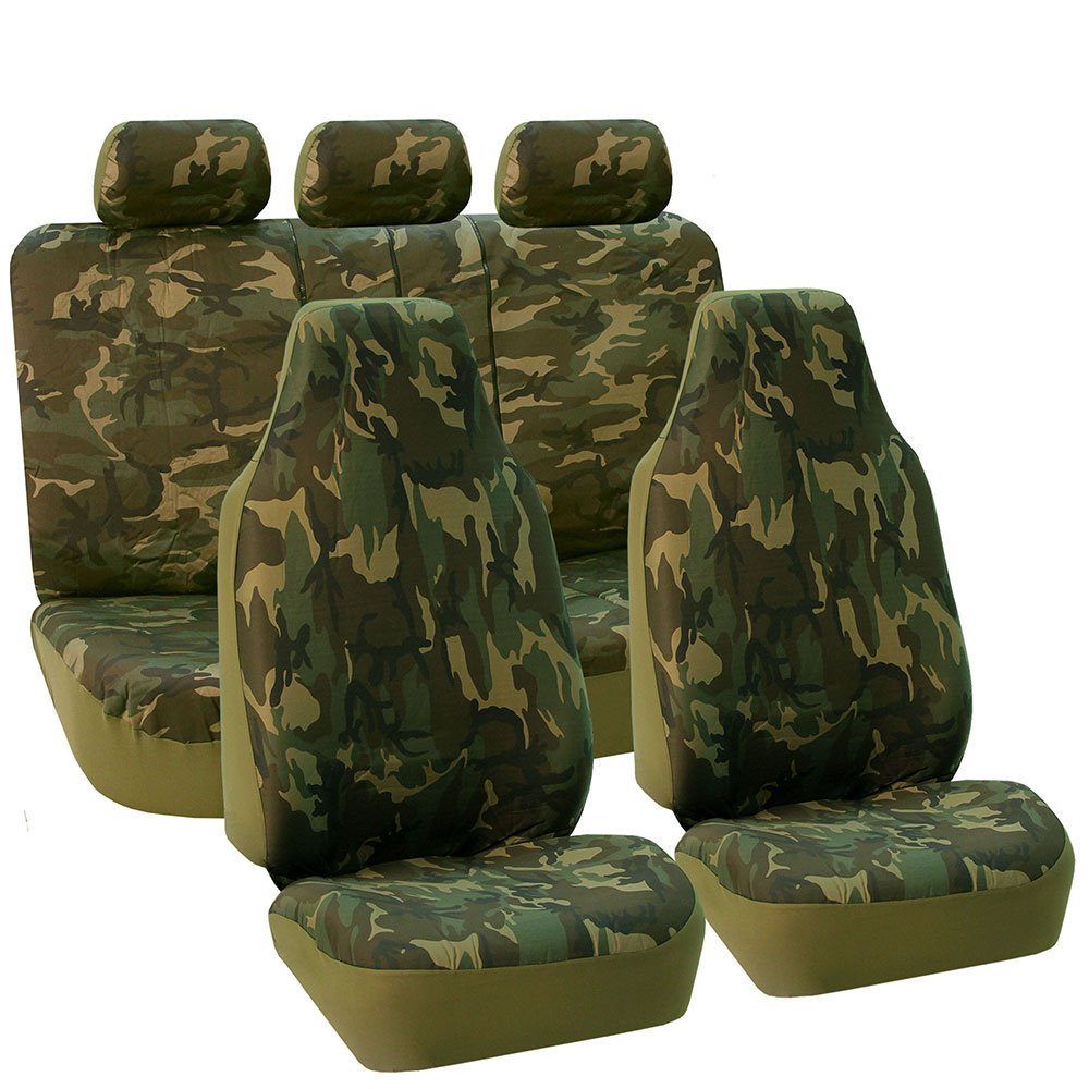 FH Group FB109DARK115 Dark Camo Car Seat Cover (Camouflage Airbag Compatible and Split Bench)