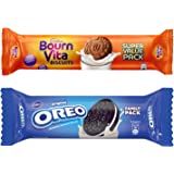 Cadbury Biscuits Family Pack Combo, 1200 gm (5X120g Oreo Vanilla Biscuits, 5X120g Bournvita Biscuits)