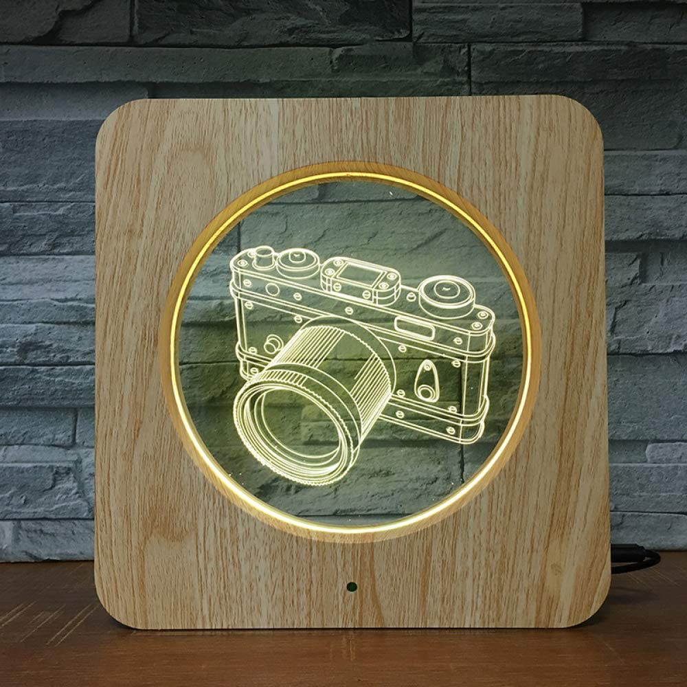 BFMBCHDJ Canno Camera Photo 3D LED ABS Plástico Luz de noche DIY Lámpara personalizada Lámpara de mesa Niños Colores Regalo Decoración para el hogar: Amazon.es: Iluminación