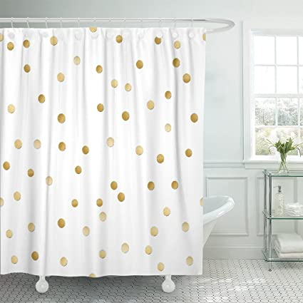 Image Unavailable Not Available For Color TOMPOP Shower Curtain Silver Gold Scattered Shiny Polka Dot