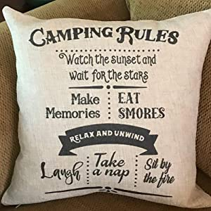 FaceYee Pillow Cover Camping Rules Retirement Gifts RV Decor Pillowcases 18x18 Square Decoratives Pillow Covers Shams Slips for Home Bedding Couch Sofa.Cotton Linen Decor Color:Camping Rules