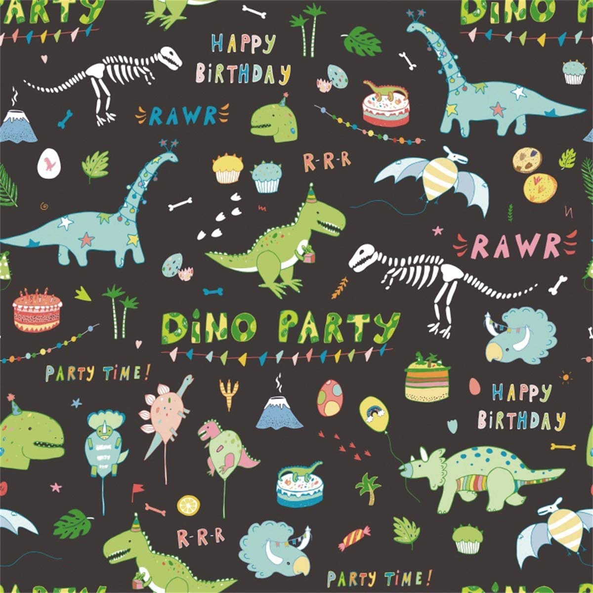 Yeele Dino Party Photography Backdrop 10x10ft Kids Birthday Party Background Kids Adult Artistic Portrait B Day Party Banner Room Decoration Photo Booth Photoshoot Props Wallpaper