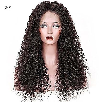 MZP Mujer Pelucas de Cabello Natural Brasileño Remy 360 frontal 150% Densidad Con mechones Rizado