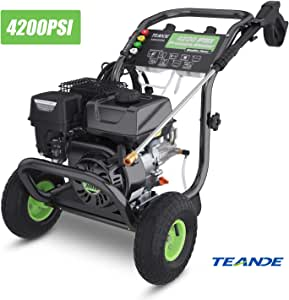 TEANDE 4200PSI Gas Pressure Washer 3GPM Power Washer 209CC Gas Pressure Washer Powered, 5 Adjustable Nozzles, 20ft Pressure Hose, Dual soap Tank (Black)