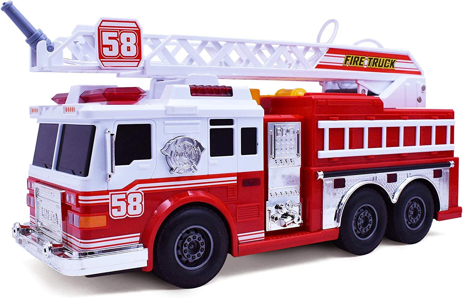 Fire Motorized Truck with Lights, Siren Sound, Working Water Pump and Rotating Rescue Ladder- Electric, Motorized, Big Fun Size, Realistic Design- for Toddlers, Kids Aged 3+ Years Old
