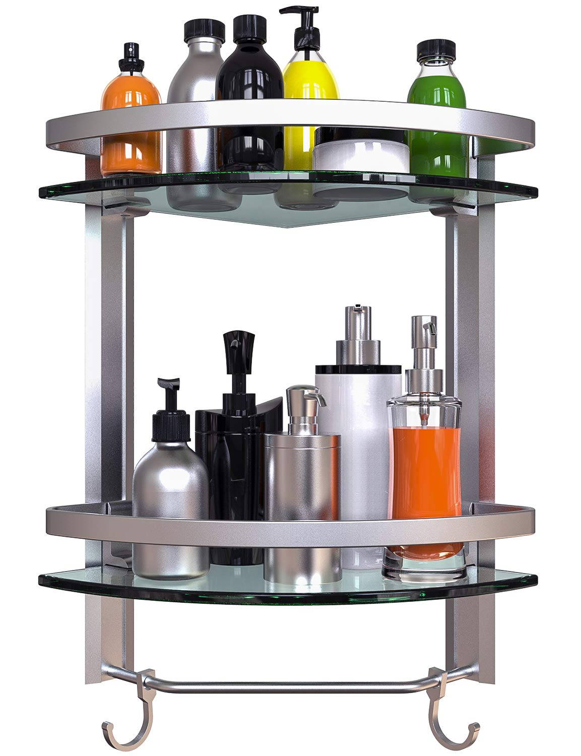 Vdomus Bathroom Tempered Glass Corner Shelf, 2 Tier Shower Shelve with Towel Bar Wall Mounted, Brushed Silver Finished. (2 Tier Glass Shelf)