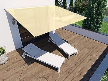 Sonnensegel BASIC \'Voile d\'ombrage\' für Balkon + Terrasse | Polyester,  wasserabweisend, UV-stabil | Rechteck beige, 3x2,5m