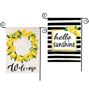 CDLong 2 Pack Lemon Wreath Summer Garden Flag Watercolor Stripes & Welcome Yard Flag Vertical Double Sided 12.5 x 18 Inch,Seasonal Rustic Flag Decor for Indoor Outdoor Summer Decorations