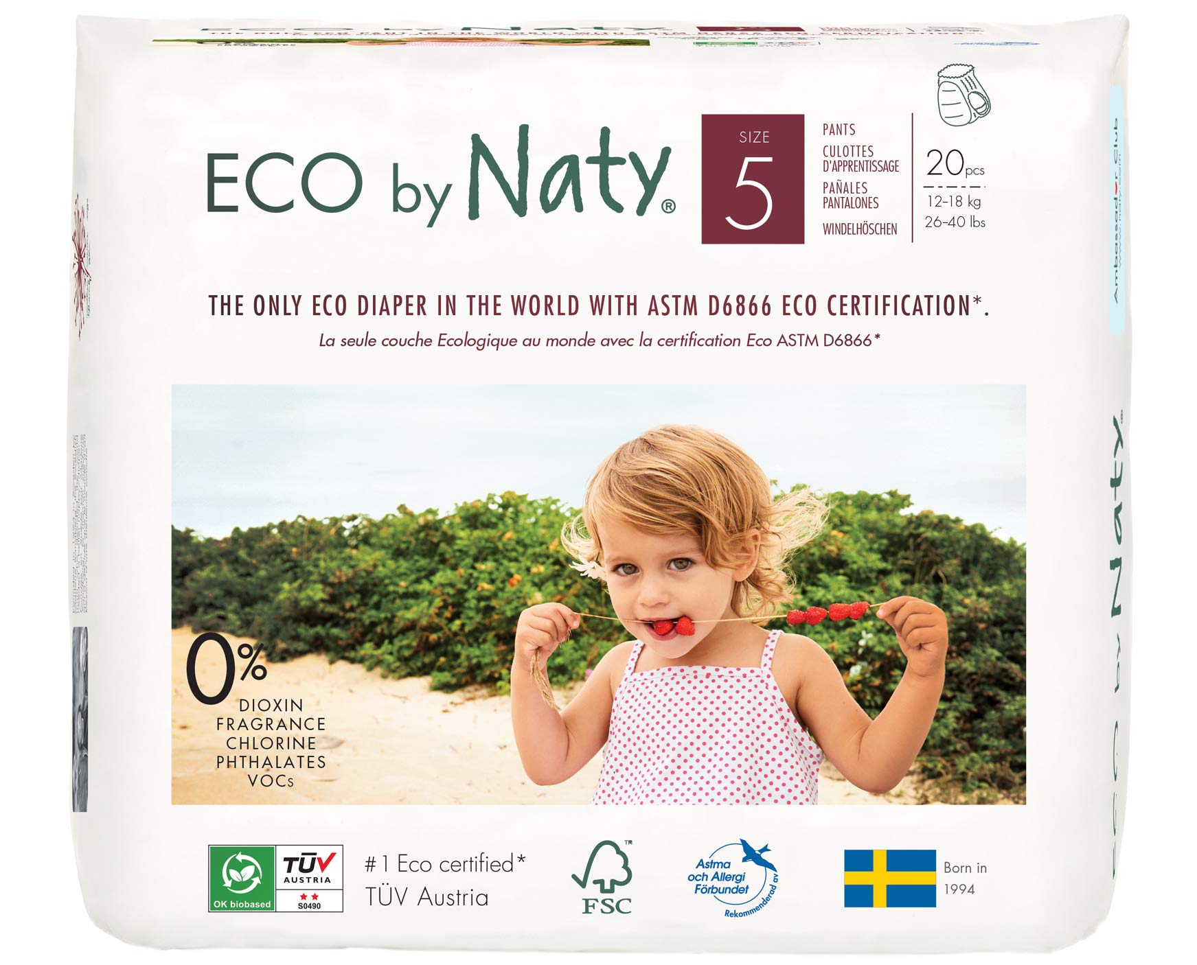 Eco by Naty Premium Pull On Pants for Sensitive Skin, Size 5, 4 Packs of 20 (80 Diaper Pants) by Eco by Naty