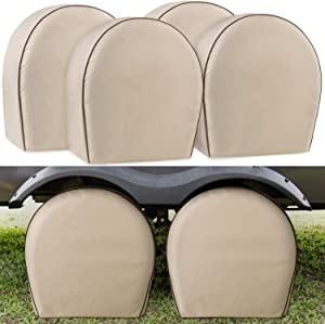 "Leader Accessories 4-Pack Tire Covers Fits 32""-34.5"" Diameter Tires Heavy Duty 600D Oxford Wheel Covers, Waterproof PVC Coating Tire Protectors for RV Trailer Camper Car Truck Jeep SUV Wheel, Tan"