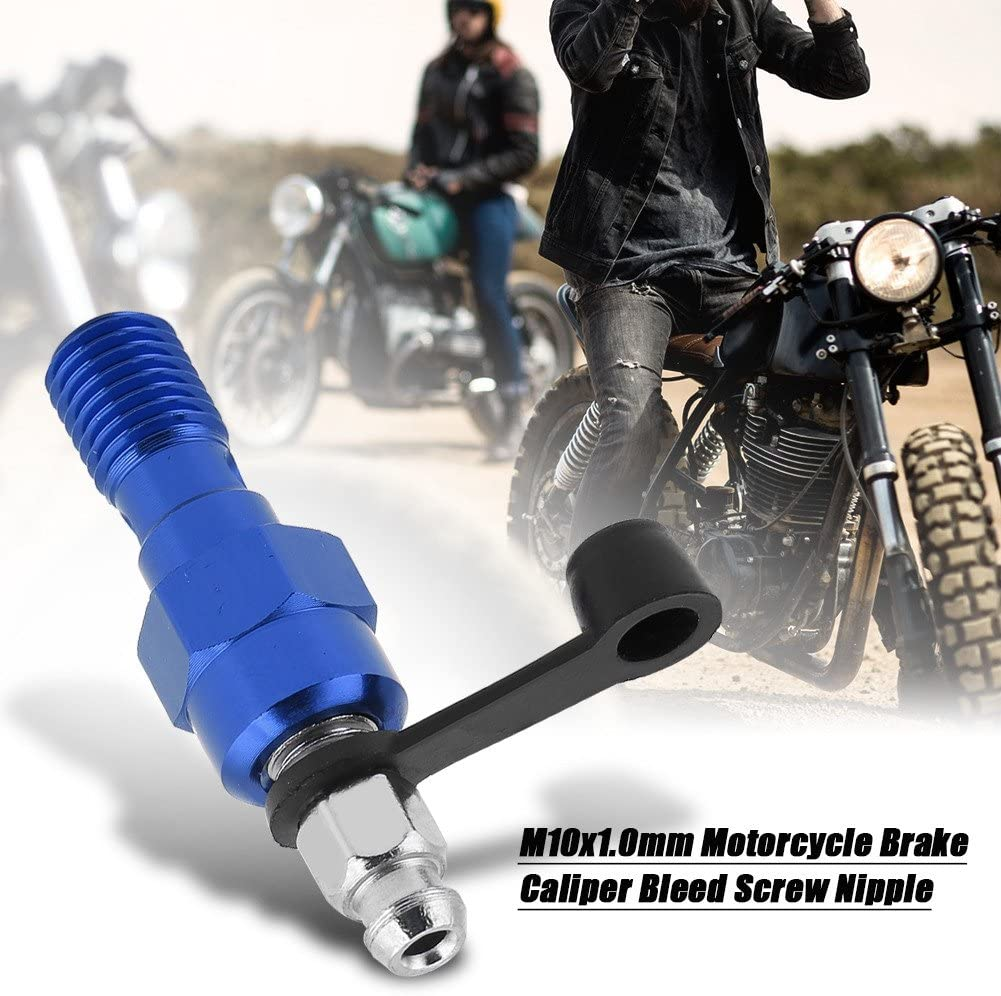 Qii lu Motorcycle Bleed Screw Dust Cap Black M10x1.0mm Universal Motorcycle Brake Master Cylinder Caliper Bleed Screw Aluminum Nipple Banjo Bolt