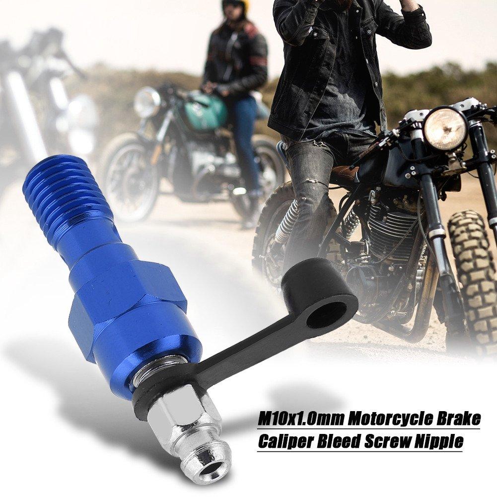 Blue M10x1.0mm Freno de la motocicleta Cilindro maestro Calibrador Purgado Tornillo Pez/ón Banjo Perno y tapa protector