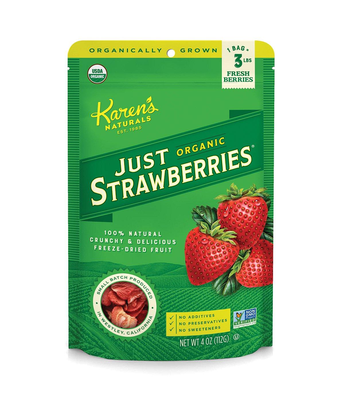 karen u0027s naturals organic just strawberries 4 ounce pouch freeze