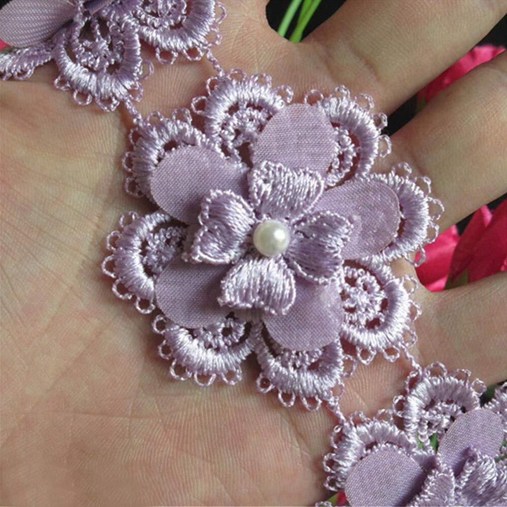 1 Yard Flower Pearl Lace Edge Trim Ribbon 5 cm Width Vintage Style Purple Edging Trimmings Fabric Embroidered Applique Sewing Craft Wedding Bridal Dress Embellishment DIY Decor Clothes Embroidery Qiuda