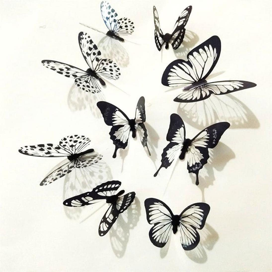 Vacally 36 Pcs Wall Stickers Wallpaper 3d Black White Butterfly