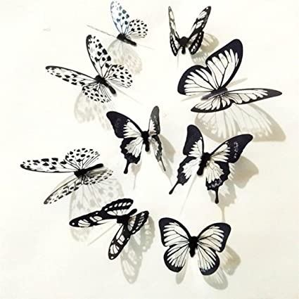 Vacally 36 Pcs Wall Stickers Wallpaper 3D Black White Butterfly Sticker Art Decal Mural Home