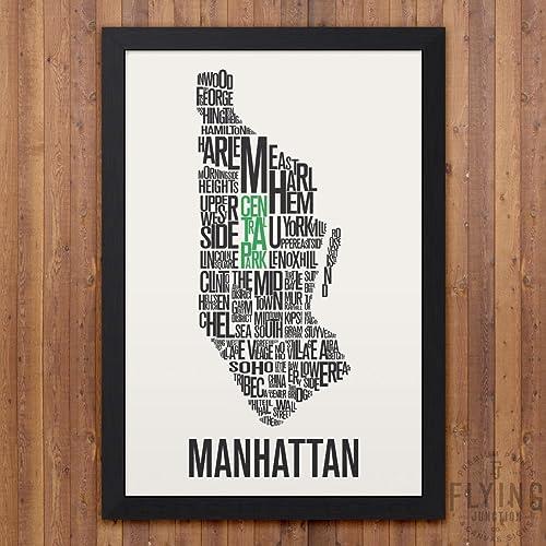 manhattan nyc neighborhood map print