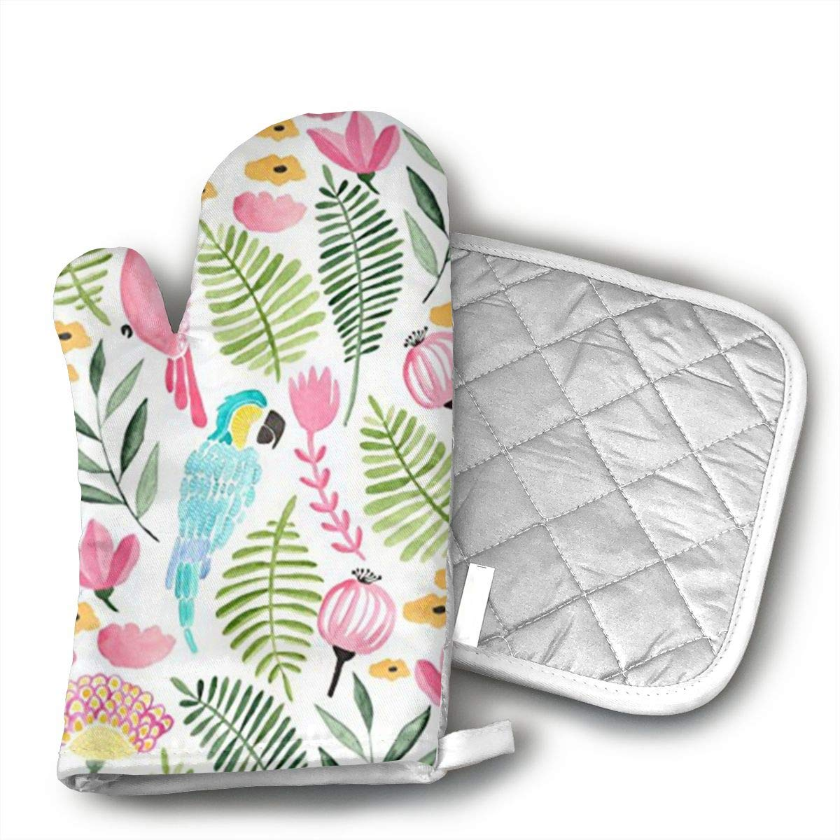 Wiqo9 Summer Tropical Parrots Oven Mitts and Pot Holders Kitchen Mitten Cooking Gloves,Cooking, Baking, BBQ.