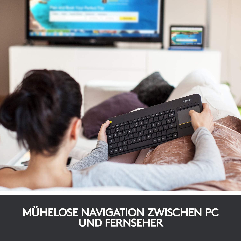 Logitech K400 Plus Teclado Inalámbrico con Touchpad para Televisores, Disposición QWERTZ Alemán, Negro