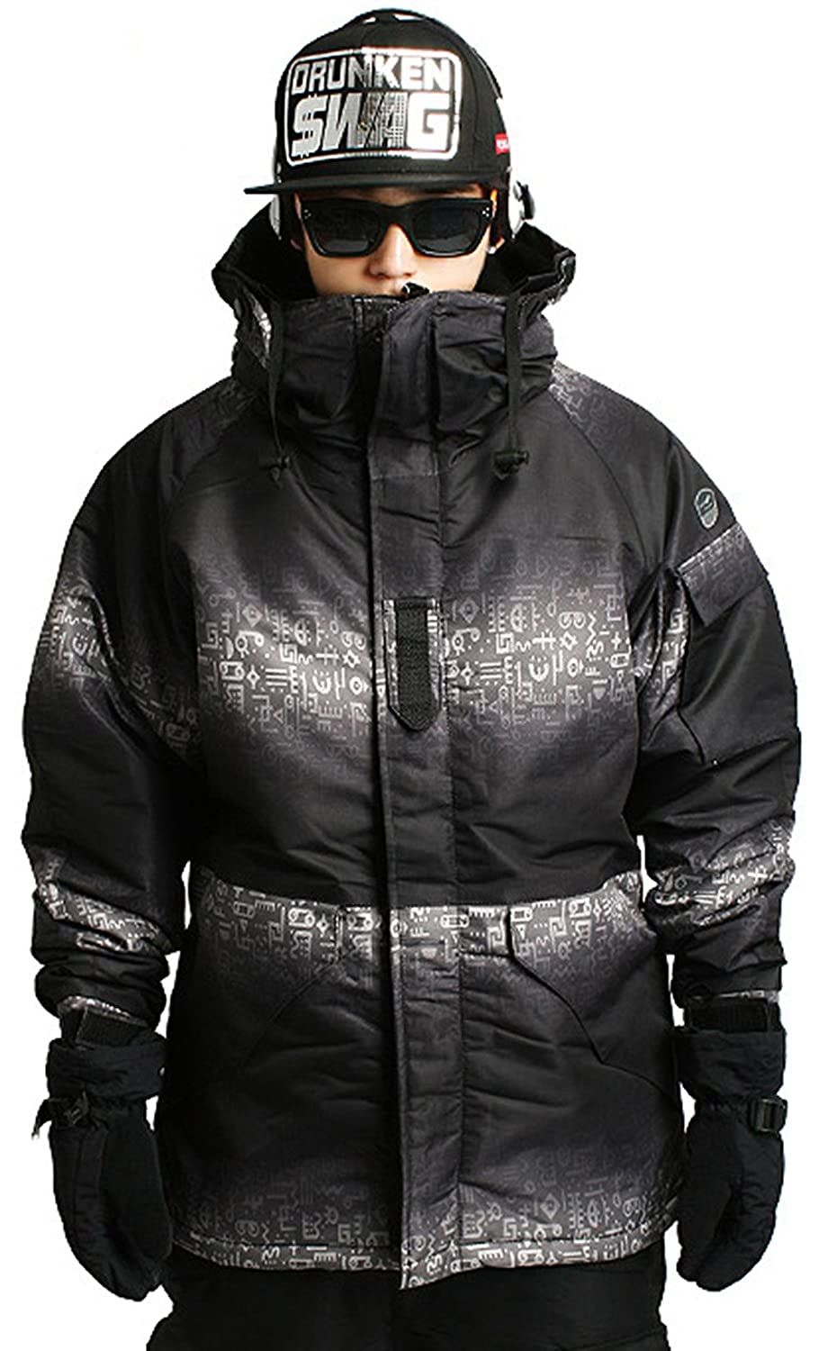 Mens SOUTH PLAY Waterproof Ski SnowBoard Wear Jacket Jumper HIEROGLYPHIC