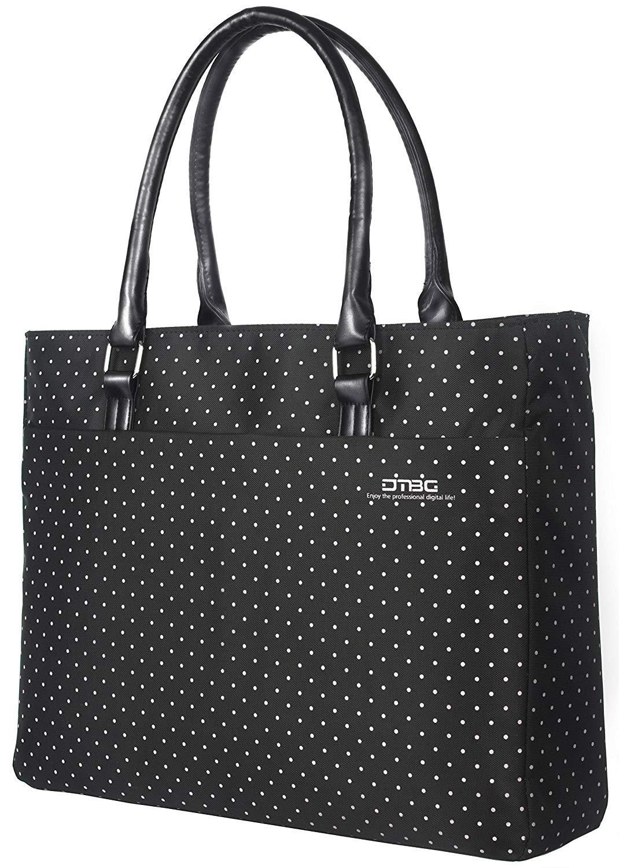 FOSTAK Bolsos totes/Bolso de hombro para mujer Bolso de viaje Messenger Bag elegante Bolsas portá tiles para negocio que trabaja Notebook/ordenador portá til de 15.6 Inch, Gris-negro