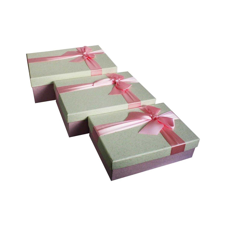 Interior Rosa y Cinta Decorativa Satinada Emartbuy Conjunto de 3 R/ígido Lujo Caja de Regalo de Presentaci/ón En Forma de Rect/ángulo Caja Con Textura De Crema Oscura Con Tapa de Color Caqui