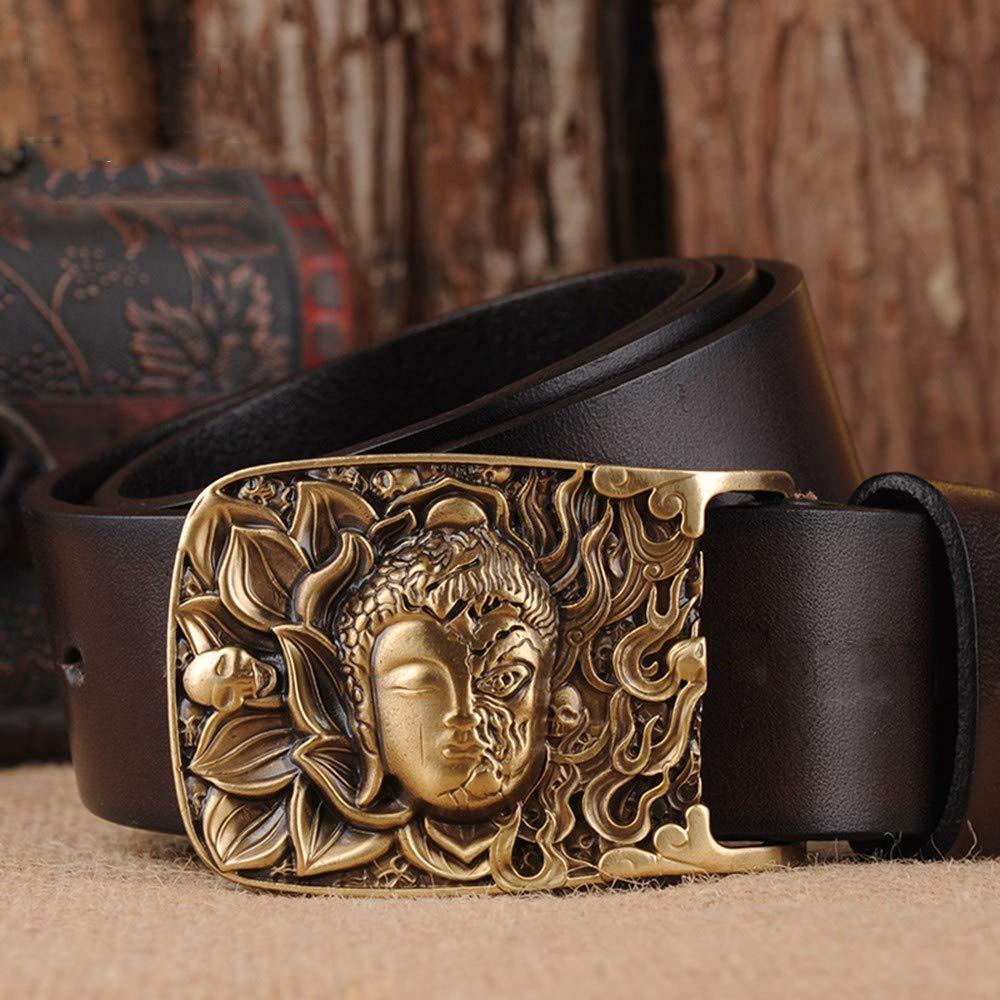 HYLIUP Mens Belt Classic Design Mens Belt Leather Mens Belt Automatic Buckle Steel Buckle Simple Belt Youth Long Belt
