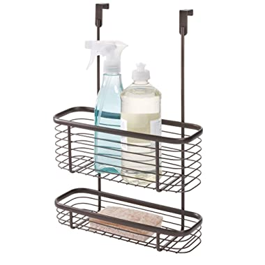 iDesign Axis Over the Cabinet 2-Tier Kitchen Storage Basket Organizer for Aluminum Foil, Sandwich Bags, Cleaning Supplies, Garbage Bags, Bath Supplies, 5.1  x 11.1  x 16.3 , Bronze