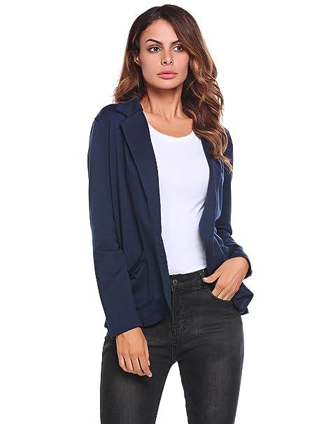 Meaneor - Chaqueta de Traje - para Mujer Azul Marino M: Amazon.es ...