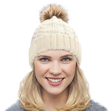 6fa881c2e237 Dafunna Bonnet Femme avec Pompon en Fausse Fourrure Chapeau d hiver Chaude  Bouffant tricoté Pom