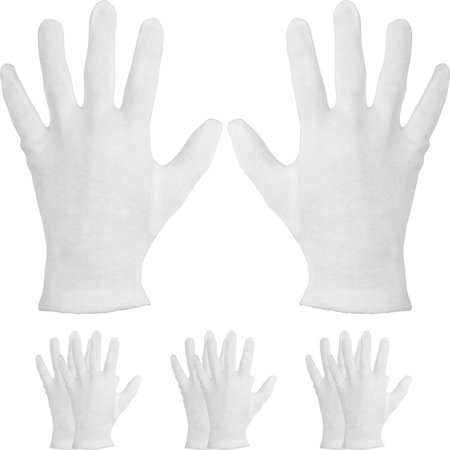 4 Pairs Cotton Moisturizing Gloves Cosmetic Hand Spa Gloves Moisture Enhancing Gloves for Dry Hands, Eczema, White Mudder