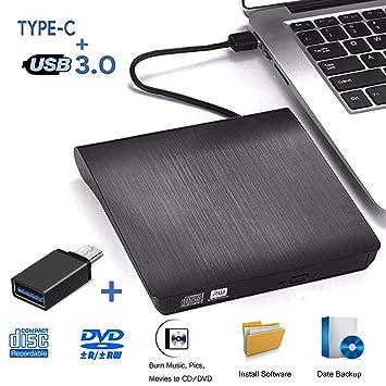 Grabadora DVD Externa, iAmotus Unidades CD/DVD Externas USB 3.0 Lector Grabadora Y Tipo-c Grabadora Externa Ultra Slim Portátil para Windows 10 7/8 / ...