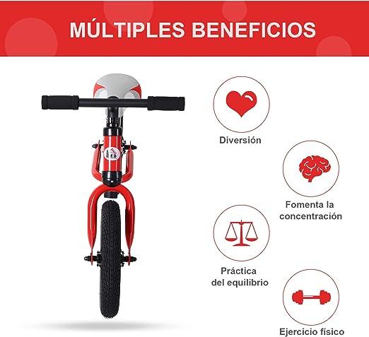 HOMCOM Bicicleta sin Pedales Sillín Regulable 31-45cm Recomendado para niños + 2 Años Rueda de Goma Carga 25kg 65x33x46cm Rojo: Amazon.es: Juguetes y juegos