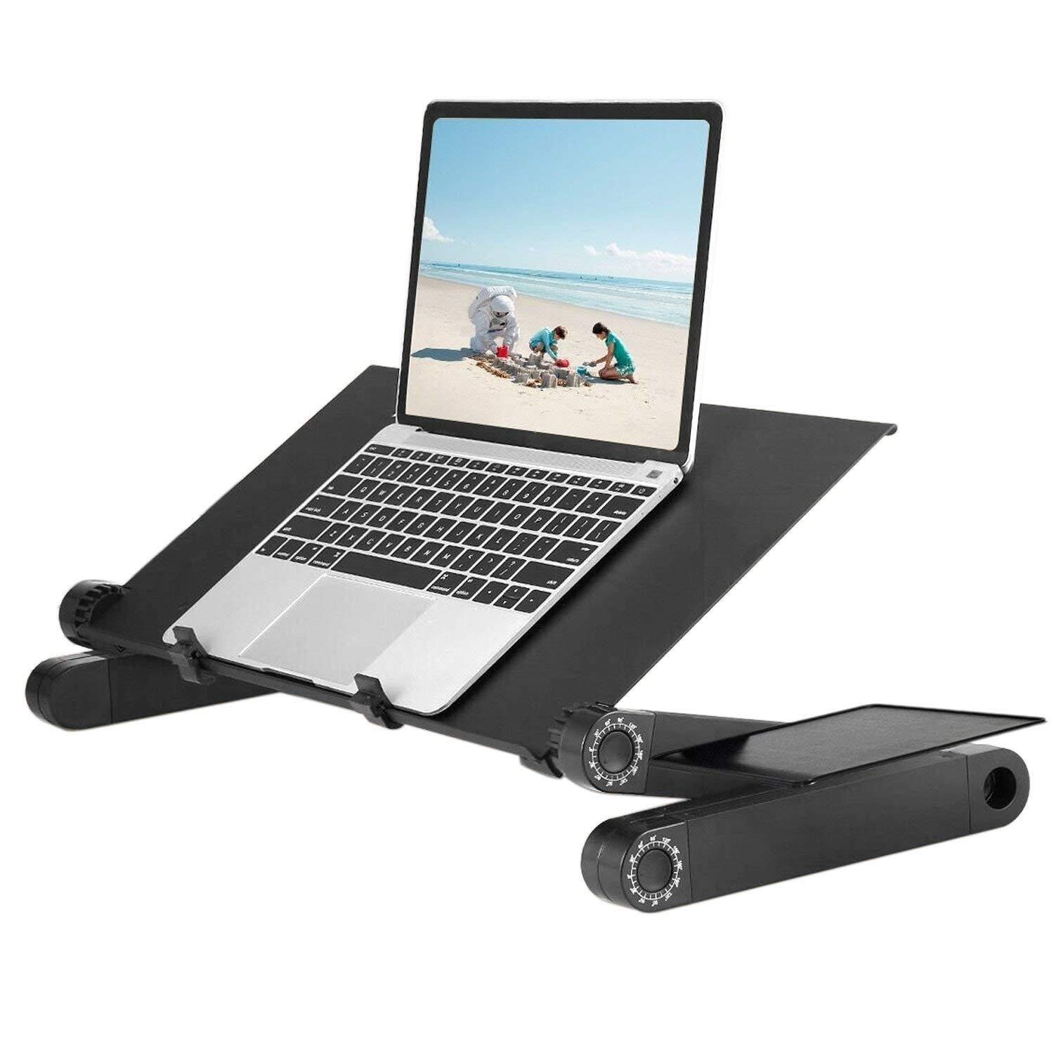 AUSPT Adjustable Laptop Stand for Bed Computer Table Desk for Laptop Folding Laptop Desk Breathable Ventilation Lapdesk with Mouse Pad Side Mount Light Weight | Ergonomic Bed Lap Tray