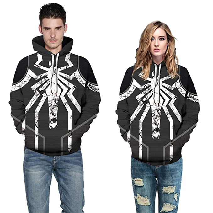 10a48619de Image Unavailable. Image not available for. Color  waterlan Hip-hop Style  Hoodies Spider Geometry 3D Unisex Sweatshirt