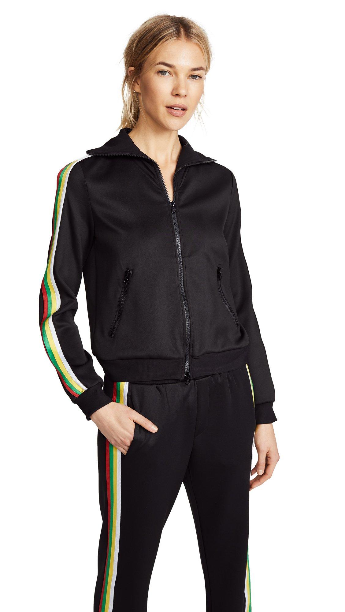 Pam & Gela Women's Track Jacket with Rainbow Sportstripes, Black, Petite