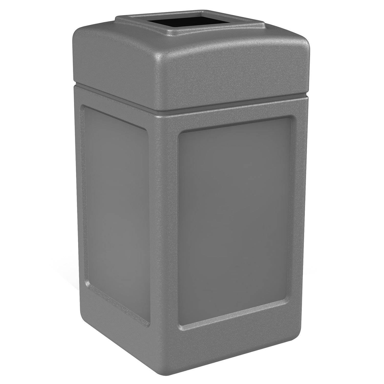 Trash Can, Garbage Commercial Square Waste Container, Open Top Lid, Polyethylene, 42-gal, Gray, Industrial by Trashco