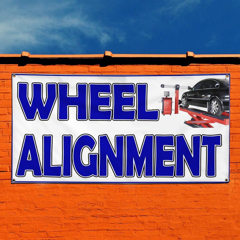 28inx70in Vinyl Banner Sign Wheel Alignment White Blue Black Car tire Marketing Advertising White Set of 2 Multiple Sizes Available 4 Grommets
