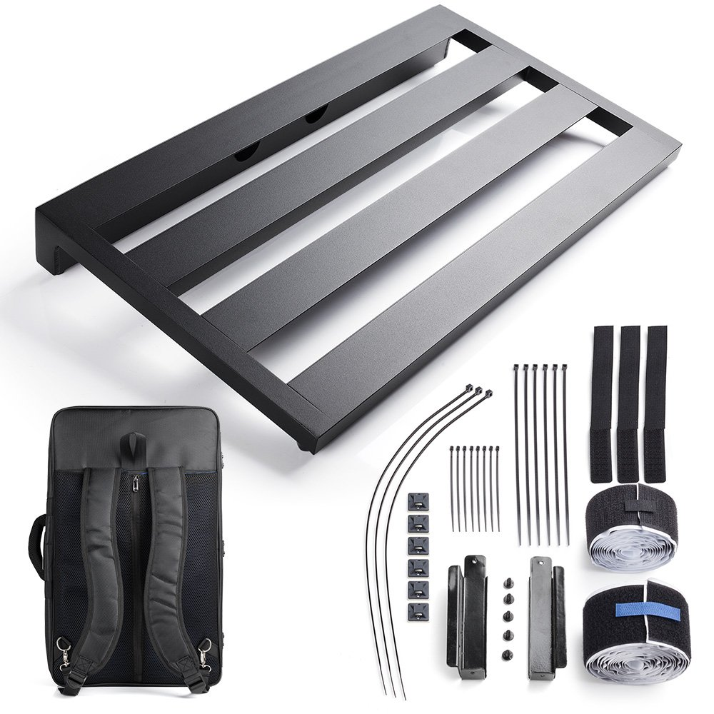 """Vangoa- Aluminum Guitar Pedal Board 22"""" x 12.6"""" x 2.36"""" with Carry Bag and Power Supply Mounting Brackets LYCA-GBP"""