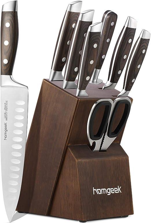homgeek Cuchillo de Cocina Profesional, Juego Cuchillos Cocina ...