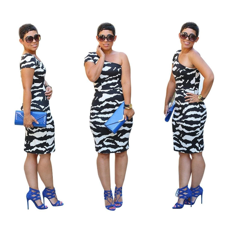 Frauen Kleid,Xinan Frauen schließen Hülsen-Sommer-schiefe Schulter beiläufige Sleeveless Zebra-Korn-Druck-Partei-Kleid