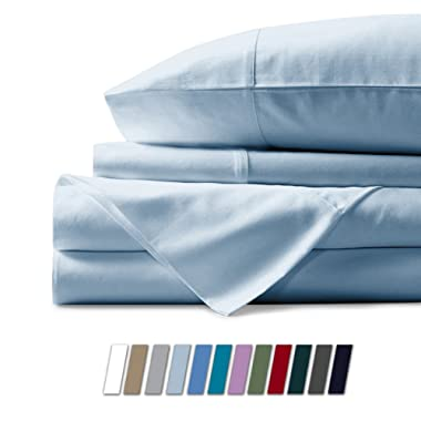 Mayfair Linen 100% Egyptian Cotton Sheets, Sky Blue Queen Sheets Set, 800 Thread Count Long Staple Cotton, Sateen Weave for Soft and Silky Feel, Fits Mattress Upto 18'' DEEP Pocket
